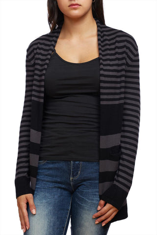 Striped open-front longline cardigan with pockets