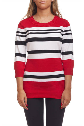 3/4 sleeve sweater with stripes