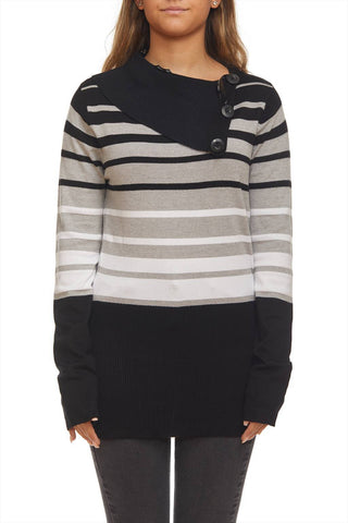 Striped sweater with cowl detail