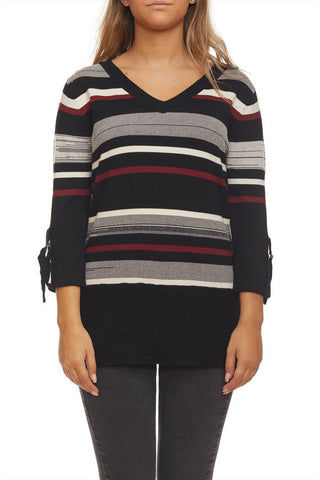 3/4 sleeves striped sweater