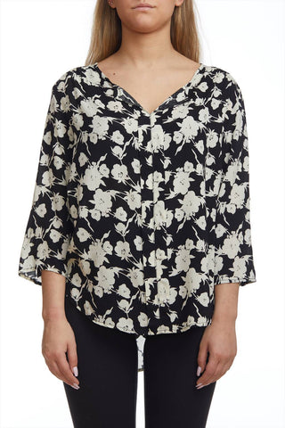 Floral Blouse with Rollup Sleeve Option