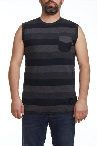 Striped Muscle Tank with pocket