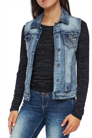 Light wash denim vest with embrodered pocket