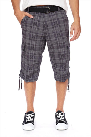 Belted 100% cotton plaid capri