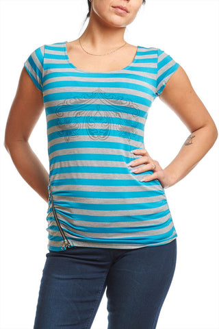 Striped top with print and zip detail