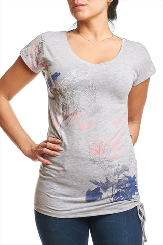 Printed top with side ruching