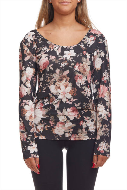 Flower print top with back details