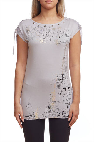 Easy fit T-shirt with metallic print