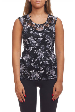 Lace flower print camisole