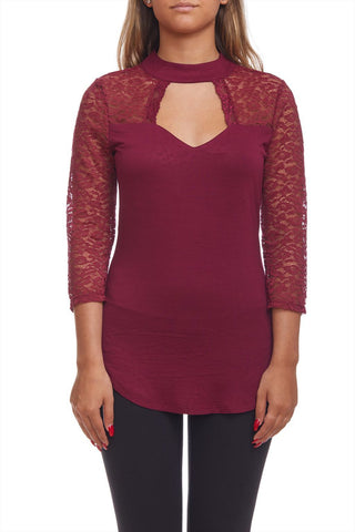 3/4 lace sleeve top with front cut-out