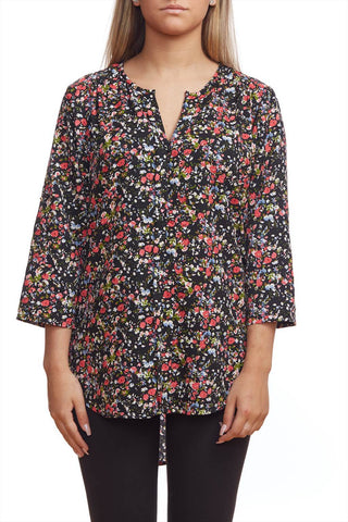 Floral print blouse with roll up sleeve