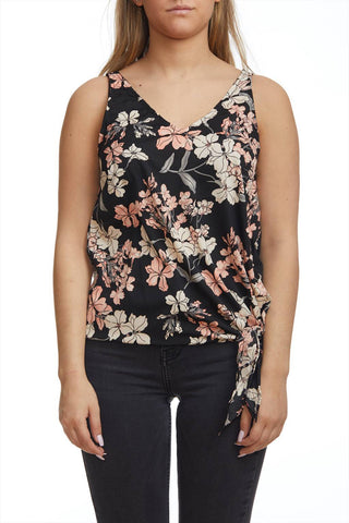 Front knot flower print cami