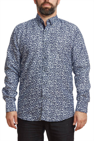 Printed long sleeves shirt with contrast cuffs