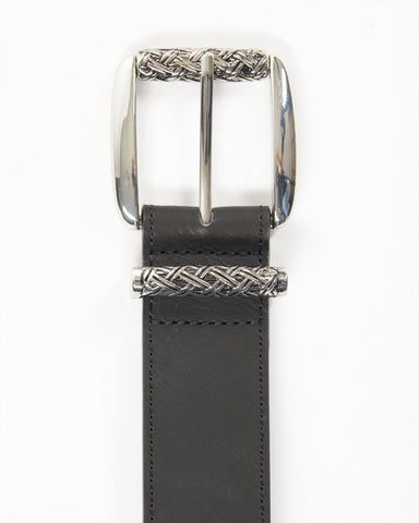 Leatherette belt with textured buckle