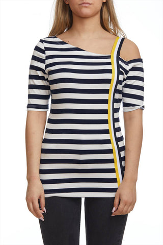 Striped top with open shoulder