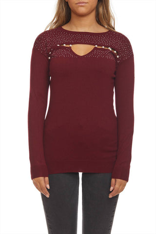 Blingy sweater with opening at front