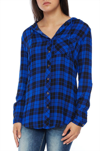 Plaid pocket blouse with hoodie