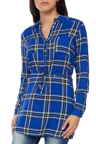 Long sleeve plaid blouse with waist belt