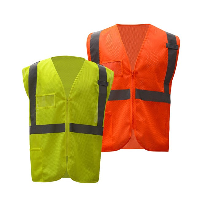 GSS Standard Class 2 Mesh Zipper Safety Vest W/ ID Pocket
