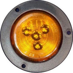 2-1/2 Round Led Marker / Clearance Light Flush Flange Mount - Amber Or Red