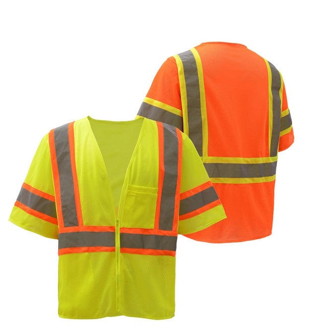 GSS Standard Class 3 Two Tone Mesh Zipper Safety Vest