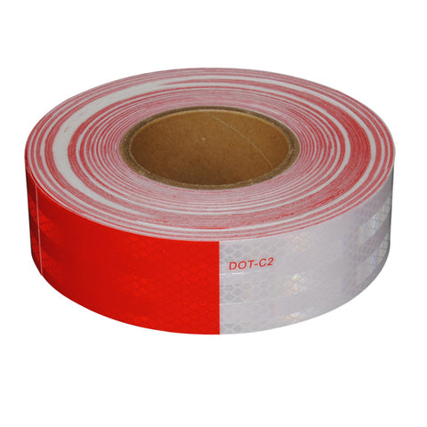 "Prismatic Conspicuity Tape, 6"" White / 6"" Red, 150' x 2"", 10 Year Warranty"