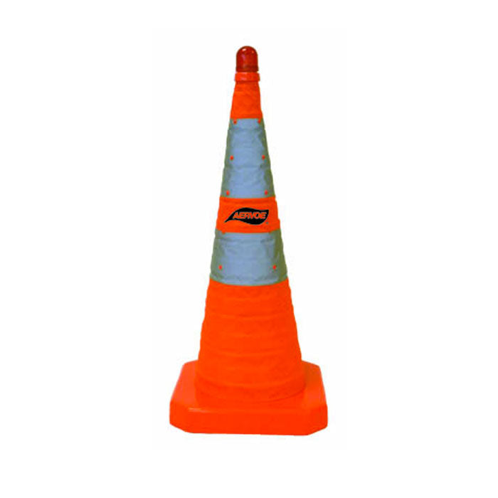 "28"" Traffic Safety Cone - Collapsible with Red LED Light - 3-Pack Kit"