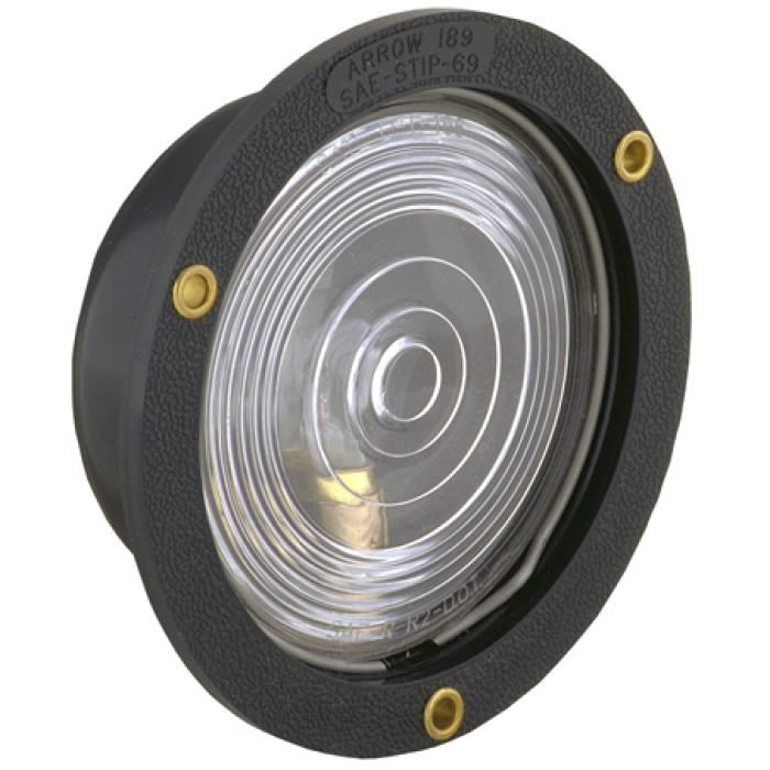 4 Round Flange Mount Back-Up Light - Plastic Housing - Clear - Clearance