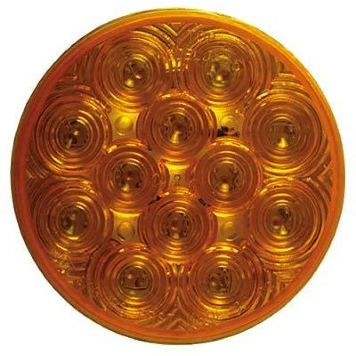 4 Round Led Stop/tail/turn W/ Chrome Flange 12 Diodes - Amber Or Red - Transportation Safety