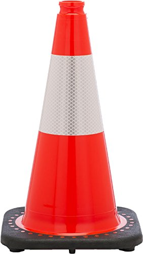 "JBC Safety Plastic Revolution Series 18"" Traffic Cone wide body with 6"" Reflective Cone Collar, Orange Color"