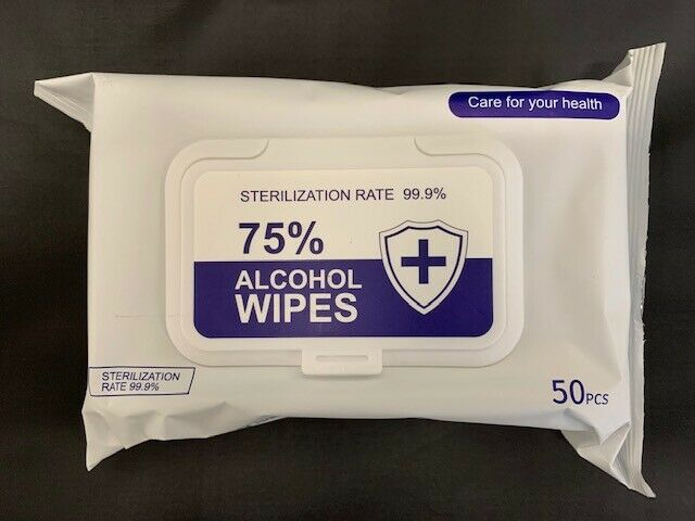 50 Wipes Pack Alcohol Wipes (75%) Alcohol