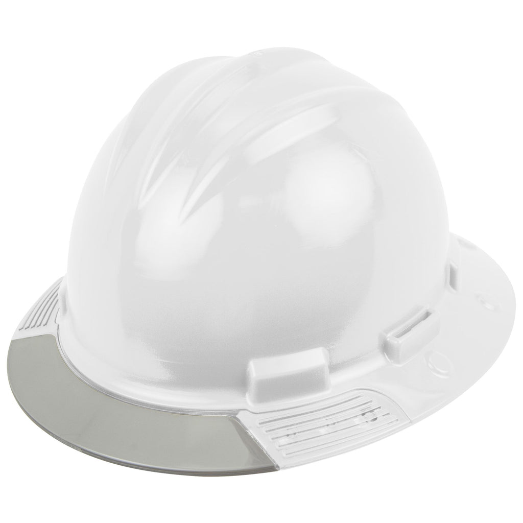 BULLARD AboveView Full Brim Hard Hat - Ratchet Suspension - White - Grey Visor
