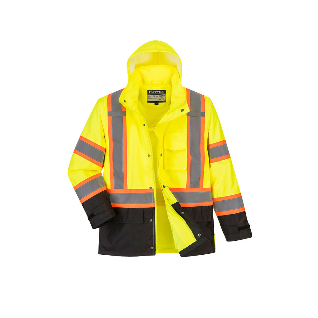 PORTWEST Hi-Vis Contrast Tape Rain Jacket Yellow/Black