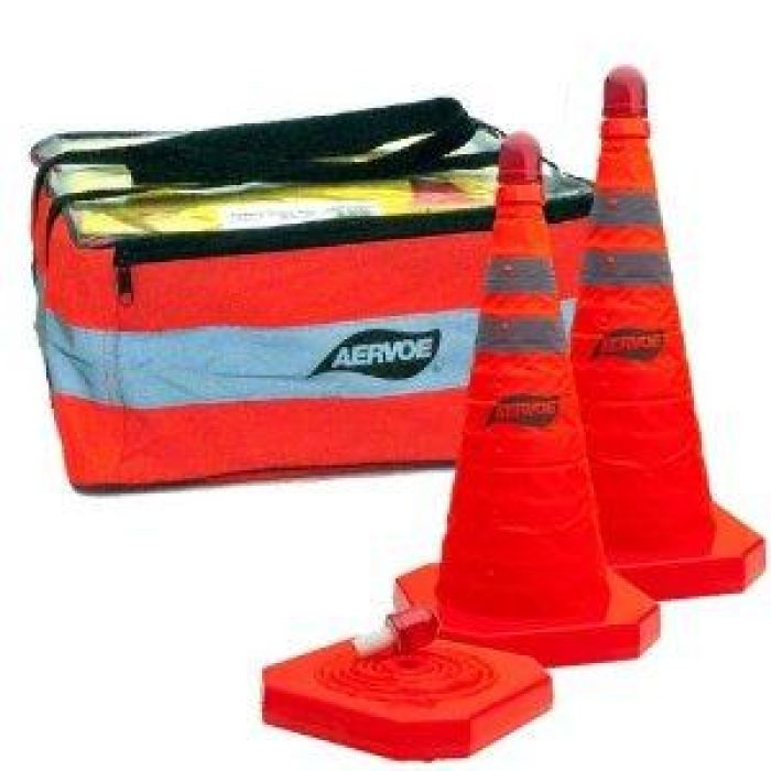 Aervoe 28 Traffic Safety Cone - Collapsible With Red Led Light - 3-Pack Kit - Highway
