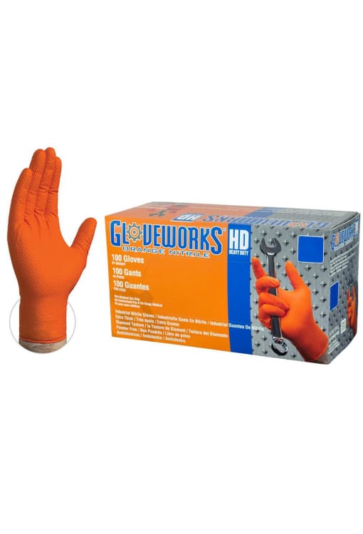 Ammex Gloveworks Diamond Texture Orange Nitrile Industrial Latex Free Disposable Gloves (Box Of 100) - Public Safety