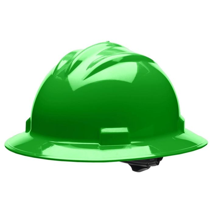Bullard S71 Standard Full Brim Hard Hat - Ratchet Suspension - Hi-Viz Green - Highway Safety