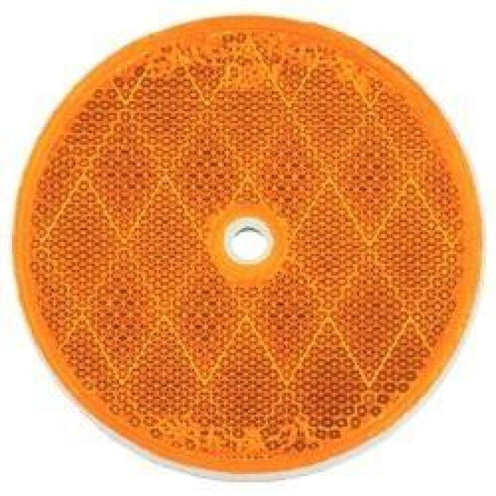 Center Hole Mount Reflector - Amber Or Red - Transportation Safety