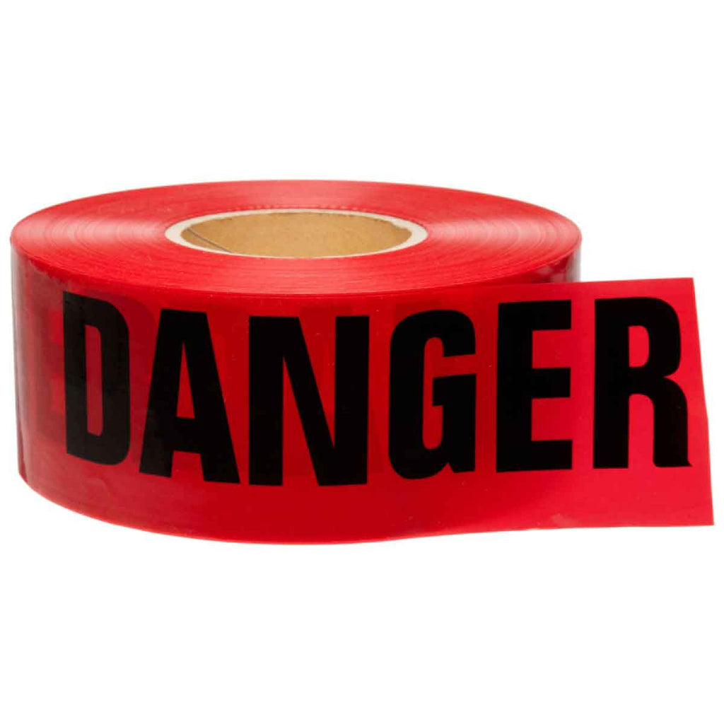 PRESCO Barricade Tape, 2.5 mil, DANGER Red