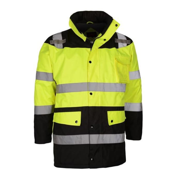 Gss Class 3 Waterproof Fleece-Lined Parka Jacket - Lime / Regular / Medium - Highway Safety