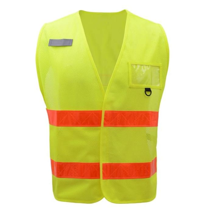 Gss Non-Ansi Multi-Usage Utility Vest - Lime-Orange Prismatic Tape - Highway Safety