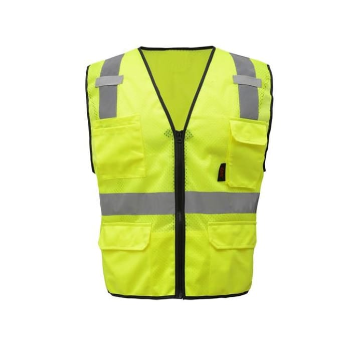 Gss Premium Class 2 Multi-Purpose Mesh Zipper 6 Pockets Vest - Lime / Medium - Highway Safety