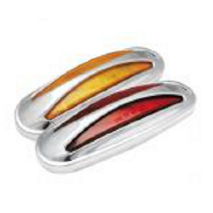 Led Clearance/marker Light W/ Plastic Chrome Bezel P2-Rated 12 Diode Amber Or Red - Transportation Safety