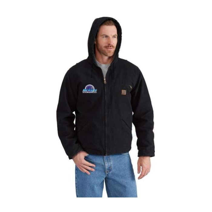 Mars/va Carhartt Mens Sandstone Sherpa Lined Sierra Jacket Black - Embroidered - Mars Logo Wear