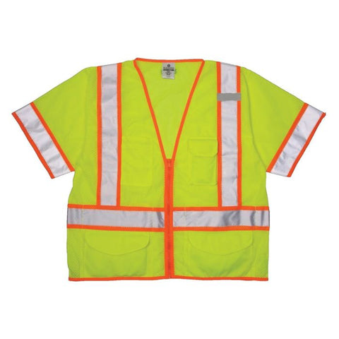 Ml Kishigo Ultra-Cool Mesh Class 3 Surveyors Vest Lime - Highway Safety
