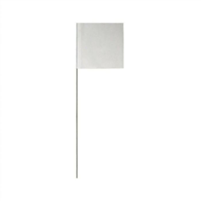 Presco White Marking Flags: 2 X 3 On 21 Metal Post - Highway Safety