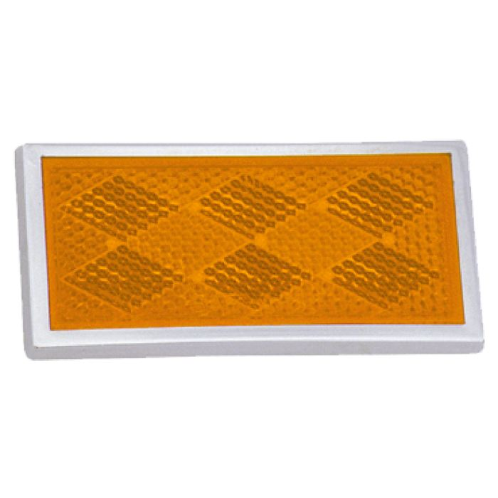 Rectangular Reflector Chrome Plated Plastic Bezel - Amber Or Red - Transportation Safety