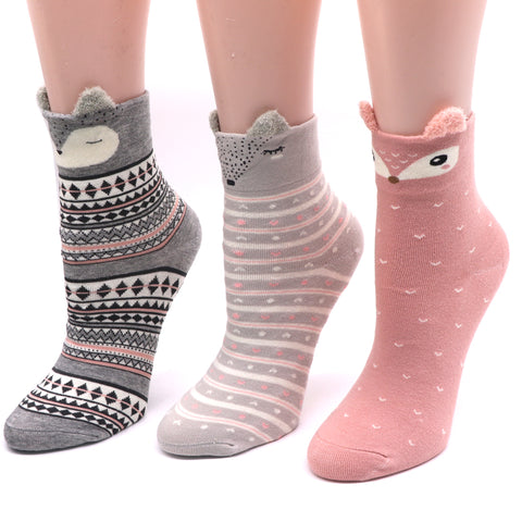 1 Pair Cotton Women Socks 3D Cartoon Chrismas Sock Funny Colorful Pattern Winter Fashion Female Socks Striped Warm Sock Animal