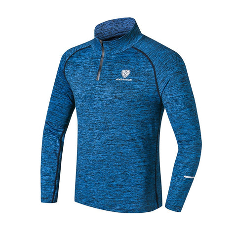FANNAI Sport Men T-shirt with Zipper Quick Dry Long Sleeve Camisa Sportswear Men Fitness Outdoor Running Trainining Clothing Gym