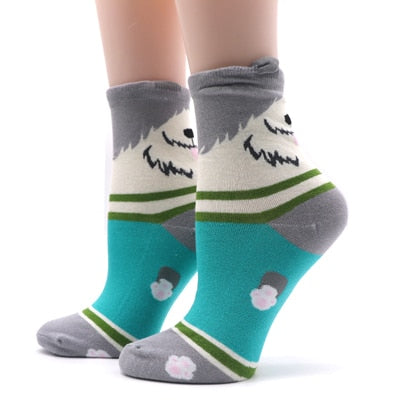 1 Pair Cotton Women Socks Funny Colorful Patterns