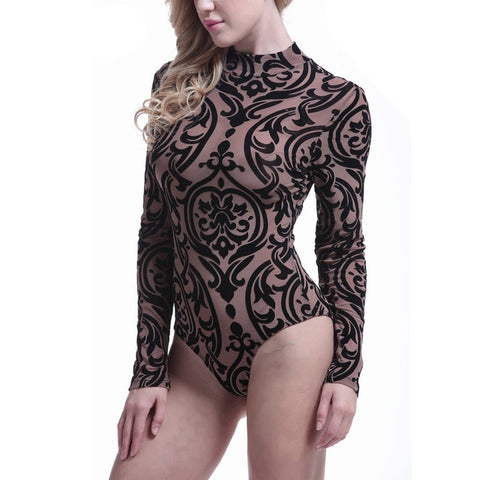 Ladies Bodysuit Top Woman Long Sleeve Rompers Bodysuit